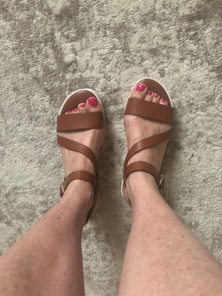 Love these casual Marc Fisher brown wedge sandals for summer! #sandals #wedge #shoes #marcffisher #fashionafter40  #LTKunder100 #LTKshoecrush