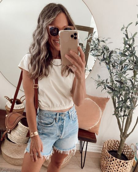 Bubble crop (sized down) + long loose vintage cutoffs for a summer outfit // outfit from June's capsule wardrobe and both items are sustainably made //   #LTKunder100 #LTKstyletip