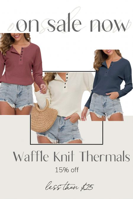 Waffle knit thermals in multiple colors are now on sale 15% off.  Also available in short sleeves.    #LTKunder50 #LTKsalealert #LTKSeasonal