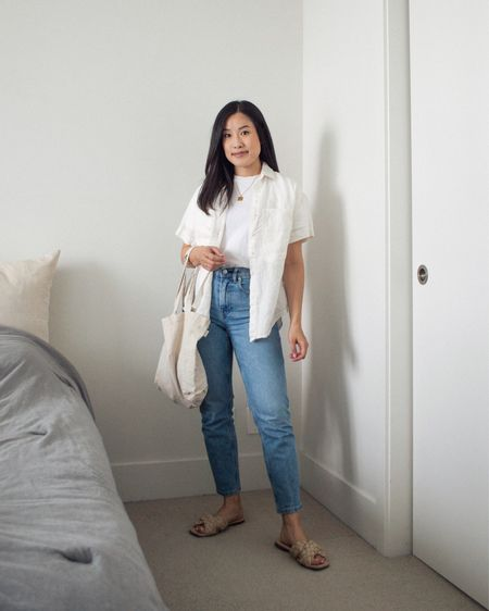 One of the simplest outfit bases is the classic white t-shirt and jeans combo. I'm still holding on to the last bits of summer with this look! T-shirt and jeans are linked, linen top is Power of My People; sandals are L'intervalle; tote bag is Harly Jae.   #LTKstyletip #LTKSeasonal