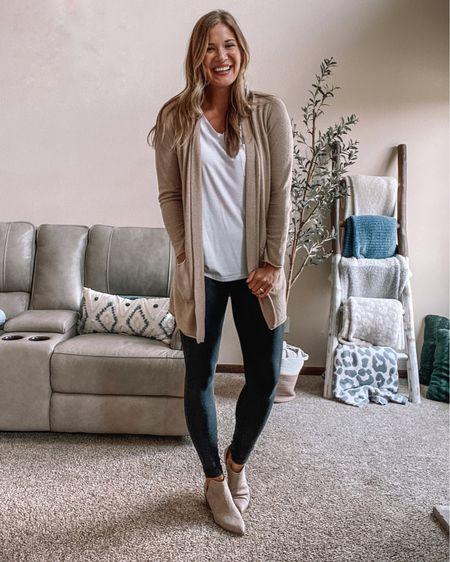 Amazon white v neck tee/ Spanx faux leather leggings on sale! I wear xl tall / tan barefoot dreams cardigan / beige booties  #LTKstyletip #LTKunder50 #LTKsalealert