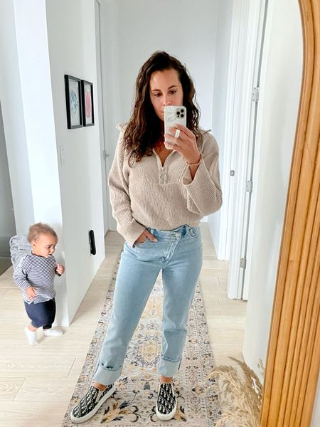 Cross over jeans for under $90!!! This style is usually close to $200! My sweater is part of the @shopbop spend more save more event and it's super soft!! Everything is linked including Eli's set!  Small sweater  27 regular jeans  39 shoes   #LTKstyletip #LTKunder100 #LTKbaby