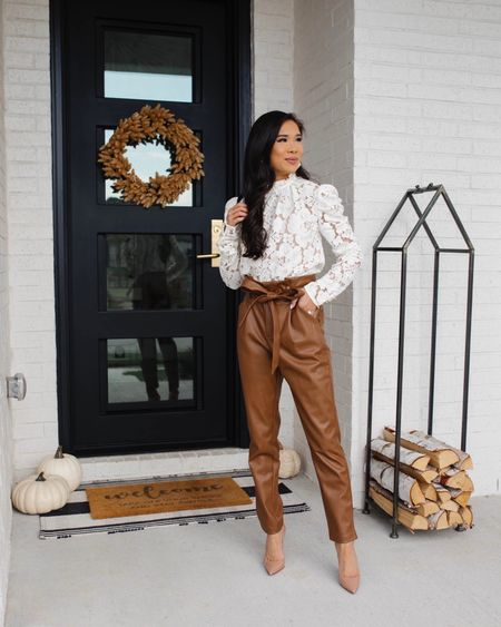 Fall workwear outfit with a lace puff sleeve top and faux leather paper bag pants! Perfect for teacher outfits or business casual. I love this neutral look!  #LTKworkwear #LTKSeasonal #LTKstyletip