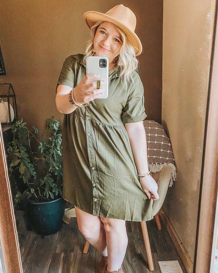 Fall dress, SHEIN dress, affordable fall outfit, fall felt hat, amazon fall hat, cognac booties, affordable outfit ideas, olive green dress, babydoll dress. http://liketk.it/30063 #liketkit #LTKstyletip #LTKunder50 #LTKsalealert #ltkfall @liketoknow.it
