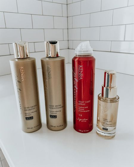 A few of my favorite @kenraprofessional products that keep my hair healthy and shiny! The Luxe shine shampoo & conditioner leave my hair feeling hydrated and silky, the heat cast spray is an amazing heat protectant, and the the luxe shine oil helps tame fly aways and adds more shine! #kenraprofessional #kenrapartner #ad http://liketk.it/3h74R #liketkit @liketoknow.it