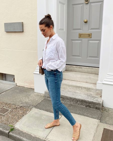 Sometimes the simple outfits are the best Sizes White broderie anglaise shirt S Sculpt blue skinny jeans 8