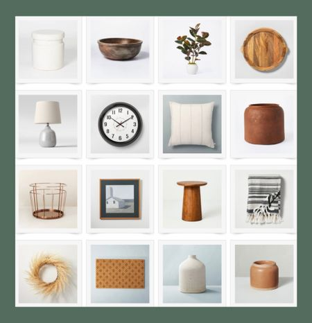 Fall decorating, new home decor accessories at @target   Wreath, clock, vase, candle, doormat, wood tray, accent table, pillow, lamp, art, Hearth and Home Magnolia, Studio McGee    #LTKSeasonal #LTKhome #LTKunder50
