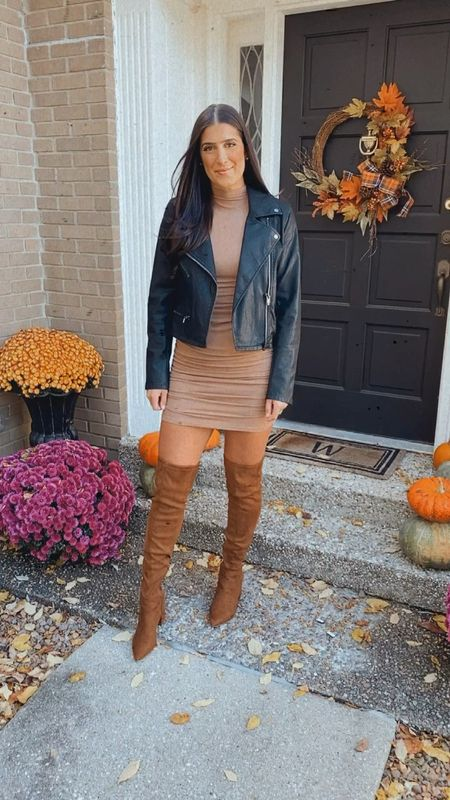 Ruched mock neck dress from Amazon fashion with my fave faux leather moto jacket that's on sale and over the knee boots. Wearing a medium in everything   #LTKunder50 #LTKSeasonal #LTKsalealert