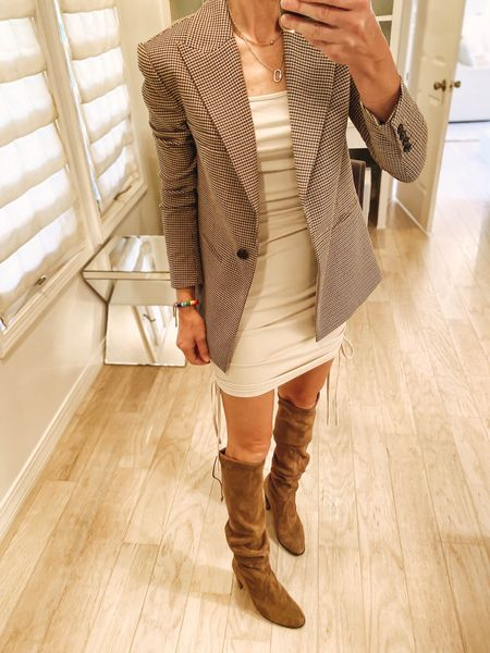 $26 ribbed knot dress from Amazon styled with houndstooth blazer and tall boots   #LTKunder50 #LTKstyletip #LTKshoecrush