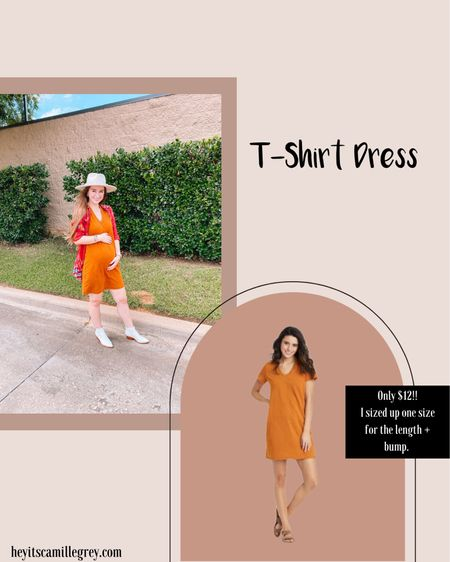 Target t-shirt dress! I sized up one for length for the bump and I have a longer torso! Comes in a ton of colors  Hat is from Flea Style here in Texas! Target white booties  #LTKshoecrush #LTKSeasonal #LTKunder50