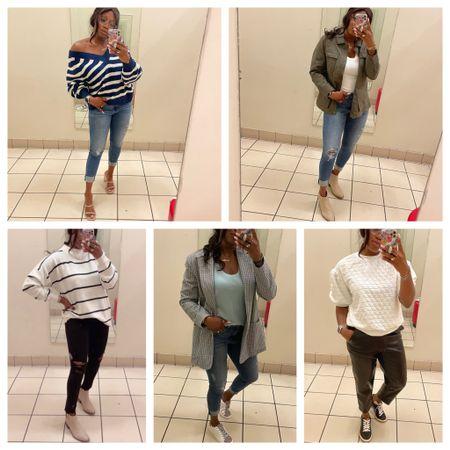 Fall outfit ideas Blazer Sweater Booties Sneakers Utility jacket Denim jeans Distressed jeans   #LTKshoecrush #LTKstyletip #LTKSeasonal