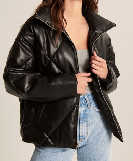 """Here's a GORGEOUS buttery soft black vegan leather puffer coat!! So perfect for fall and spring and it's currently 25% off!!!! Making it around $150!!! But the sale only lasts a few days and sizes are running out, so if you like it, jump on it! Just make sure to use code """"LTKAF2021""""! And there's also a gorgeous like caramel color too + a beautiful dark brown!!   #LTKstyletip #LTKGiftGuide #LTKsalealert"""