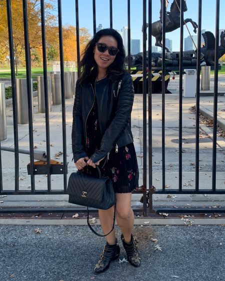 Cute fall leather jacket and dress outfit with statement boots. http://liketk.it/30DuM #liketkit @liketoknow.it @liketoknow.it.europe Download the LIKEtoKNOW.it shopping app to shop this pic via screenshot   #LTKFall #LTKstyletip #LTKshoecrush