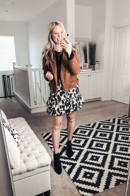 How cute is this Fall outfit! ❤️ faux suede moto jacket, ruffled top and a leopard skirt! And these are my favorite under $25 booties! M jacket S top    http://liketk.it/2XWrm #liketkit @liketoknow.it #LTKshoecrush #LTKunder50 #LTKstyletip