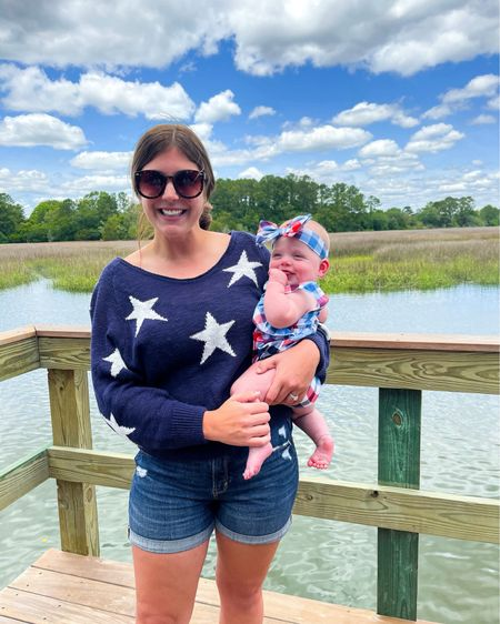 Red, white and blue with my sweet girl 🇺🇸  Callie's americana outfit is linked, and I've lined a few similar star sweaters!    http://liketk.it/3gAk1 #liketkit @liketoknow.it #LTKbaby #LTKfamily #LTKunder50 #america #redwhiteandblue #targetbaby