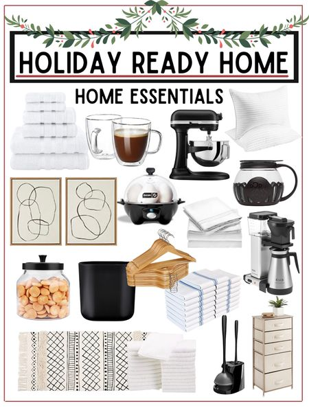 Home essentials for everyday or for entertaining holiday guests.  These are all useful items to have in your home all year round!          Home essential , home entertaining , home furnishings , kitchen gadgets , bedding , pantry organization , glass jar , pantry storage , storage container , wall art , amazon home , amazon finds , target home , target finds , #ltkunder100 , coffee maker , Williams & Sonoma   #LTKunder50 #LTKhome #LTKHoliday