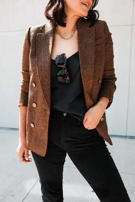 I'm loving @Jcrew's newest arrivals from soft cashmere to silky tops and perfectly textured blazers. I'm in the 8 of the blazer, TTS. I'm in the medium of the camisole, TTS but a loose fit. Size down if in between sizes. I'm in the 29 of the cords, I sized up one. #INJCREW