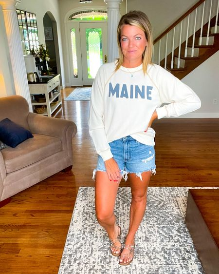 This sweatshirt is lightweight and soft. It's perfect for summer. It is TTS   These mom shorts are some of my favorites. They are TTS and high waisted.   These clear studded sandals go with everything. They are TTS    http://liketk.it/3i97u #liketkit @liketoknow.it #LTKsalealert #LTKstyletip #LTKshoecrush