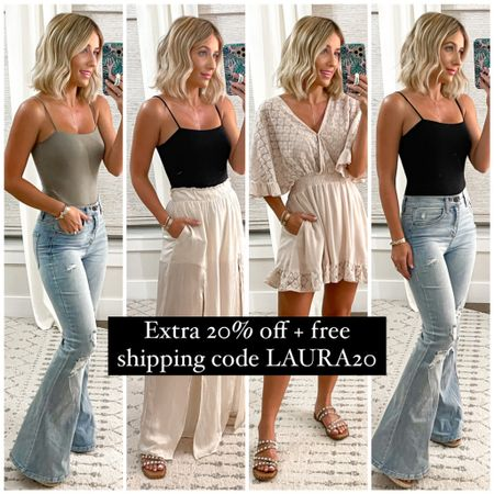 Summer outfit ideas. Wearing size small in everything. Size 25 jeans. Size 7 sandals.    http://liketk.it/3hiQp #liketkit @liketoknow.it #LTKshoecrush #LTKunder50 #LTKsalealert #laurabeverlin