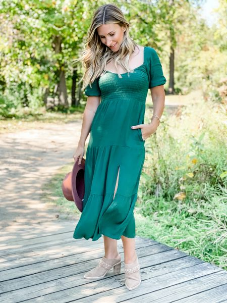 Smocked midi dress perfect for fall family photos. Comes in several colors/patterns. Wearing size xs    #LTKstyletip #LTKSeasonal #LTKSale