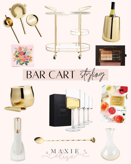 Bar Cart Styling Essentials 🥂  #barcart #barcartdecor #barcartstyle #goldbarcart #crateandbarrel #wineglasses #amazonwineglasses #winechiller #electricwineopener  #LTKunder50 #LTKhome #LTKunder100