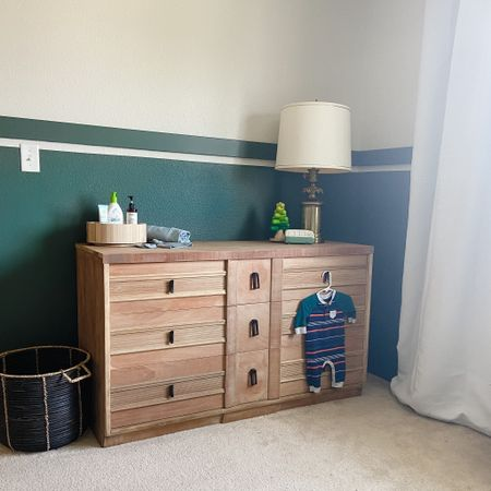 Nursery dresser with green accent wall   #LTKhome #LTKbaby
