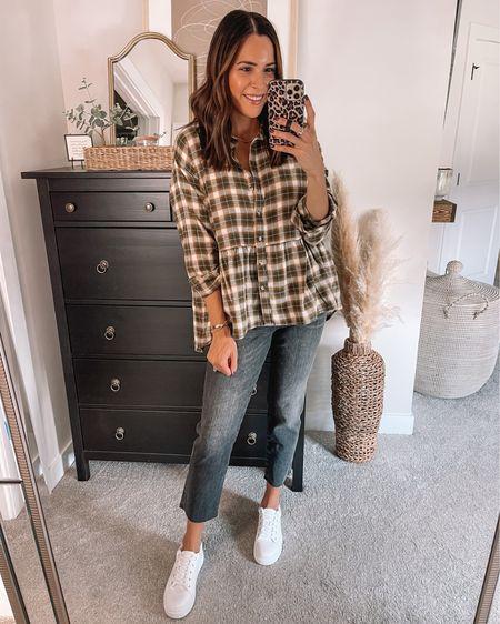 Jcpenney  Flannel shirt: sized up to a M Black straight leg jeans: true to size White sneakers: true to size  #LTKstyletip #LTKsalealert #LTKunder50