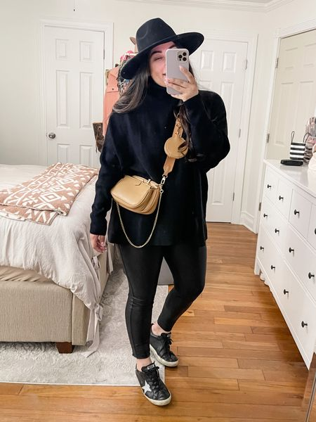 Fall outfits, oversized sweater, golden goose dupes, cross body bum bag, amazon finds, curvy outfits   #LTKunder50 #LTKshoecrush #LTKcurves