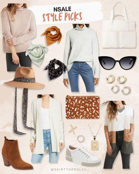 Nordstrom Anniversary Sale, NSale, Nordstrom sale: pink mock neck sweater, square bandanas, gray mock neck sweater, white tote bag, black cat eye sunglasses, brown felt hat with ribbon, brown ankle booties, leopard clutch, beige cardigan, white sneakers, XO earrings, gold initial necklace, gold hoop earrings, color block cardigan. @liketoknow.it http://liketk.it/3jP0V #liketkit #LTKunder100 #LTKstyletip #LTKsalealert