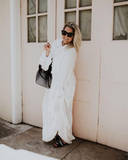 The MOST flattering white free people maxi dress and the longchamp Le pilage filet knit bag http://liketk.it/3hSIS @liketoknow.it #liketkit #LTKshoecrush #LTKstyletip #LTKitbag