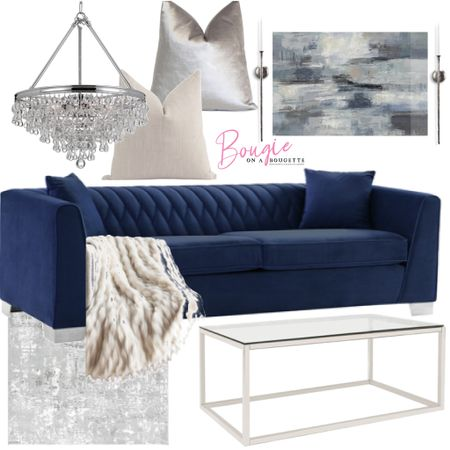 This blue  and gray living design is super luxe and budget friendly!     #LTKfamily #LTKhome #LTKstyletip
