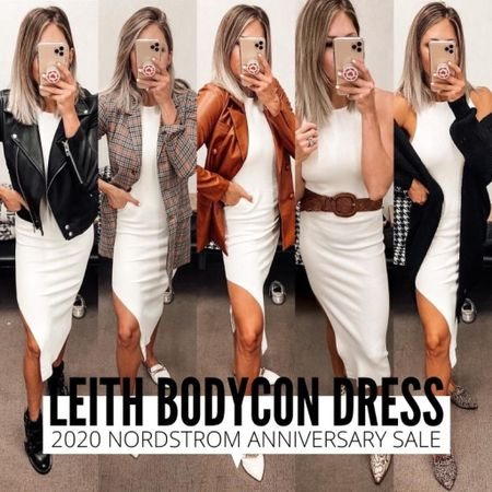 Leith white dress styled 5 ways! This body con dress is the perfect Summer dress that will transition well to fall. Find it styled 5 ways here. Runs TTS, wearing an XS. http://liketk.it/2U9ha @liketoknow.it #liketkit #LTKunder50 #LTKsalealert #LTKstyletip