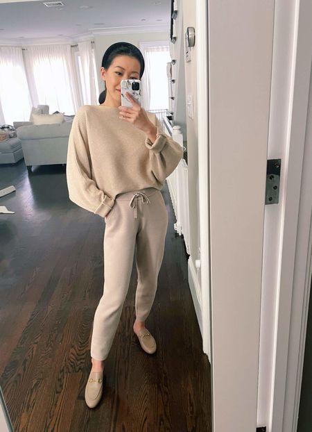 "WFH loungewear // petite sweater jogger  •Amazon sweater (oversized fit) •Banana Republic sweater joggers xxsp •Gucci Princetown mules in ""mud"" 35.5  #LTKshoecrush #LTKSeasonal"