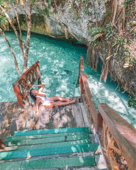 Morning dips in the cenote  💦 If only every Monday could look like this 💙 . . Shop the swimsuit below (under $20)  1️⃣ http://liketk.it/3epTl  2️⃣ link in bio  #liketkit #LTKstyletip #LTKunder50 #LTKsalealert @liketoknow.it Shop my daily looks by following me on the LIKEtoKNOW.it shopping app