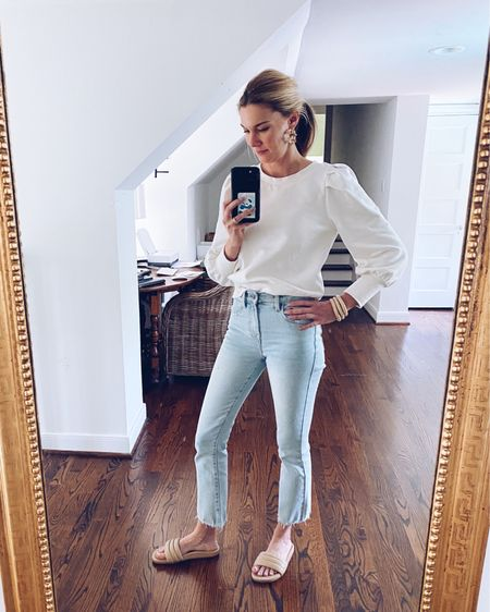 4 out of the 5 things I'm wearing in this look are from my friends! I purchased these cute jeans and sandals from my friend Selina, @frockshoptx and my earrings and bracelets are by & @espacio_popupshop! I'm so proud to call these gals my friends! http://liketk.it/3dqsg #liketkit @liketoknow.it