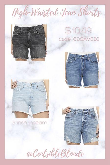 High waisted jean shorts with a 5 inch inseam   #LTKstyletip #LTKunder50 #LTKsalealert