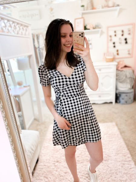 Gingham wrap dress from Abercrombie, true to size💓 #abercrombie #summerdress #summeroutfits #sneakers #whitesneakers #sliponsneakers #target #targetstyle #universalthread #beachvacation   #LTKSeasonal #LTKDay #LTKstyletip
