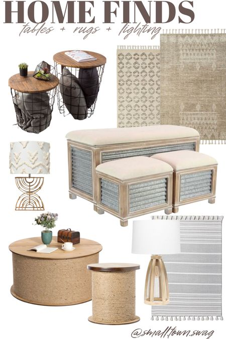 Home finds for you on a Saturday! . . . . . Target home // Walmart home, Walmart home Decor, target home Decor, Lighting, lamps, lamp, bench, table, coffee table, storage bench, rug, rugs, BoHo decor, farmhouse Decor, Modern farmhouse, bohemian, rustic decor, industrial Decor  #LTKsalealert #LTKhome