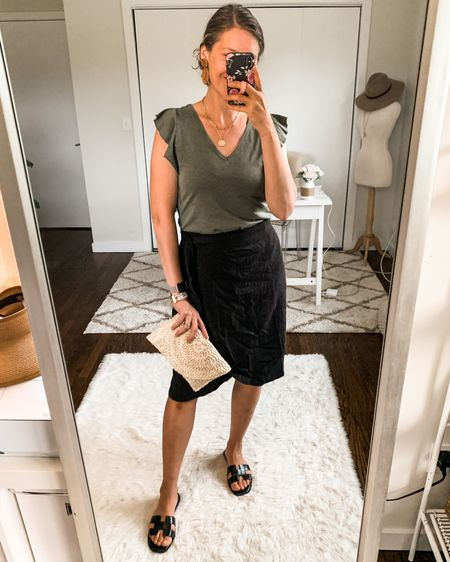Love the ruffle detail on this $10 tank! Fits tts, wearing small. Also love this linen wrap skirt, fits tts, wearing a small. The quality is amazing. http://liketk.it/3kbUc #liketkit @liketoknow.it #LTKunder50 #LTKstyletip #walmartfashion