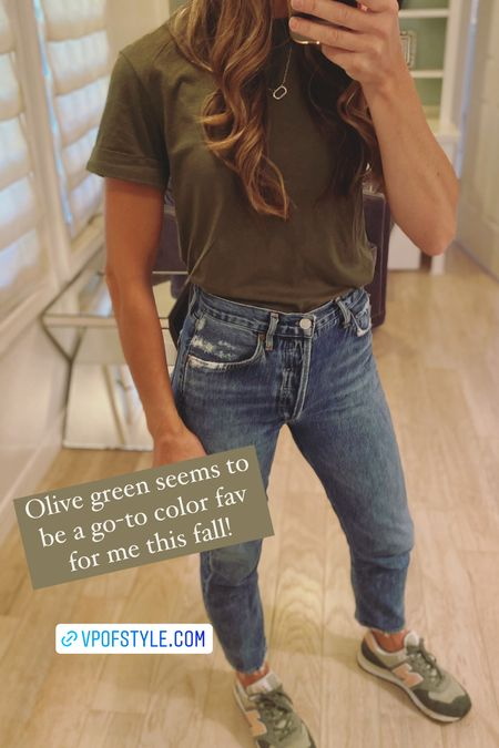 $8 tee find with cute cuff sleeve detail and comes in lots of colors. Has a high/tight neck line….no stretched out neck on this tee. Wearing size xs. #casualfalloutfit jeans and tee outfit Agolde jeans new balance tennis shoes sneakers   #LTKunder100 #LTKstyletip #LTKunder50