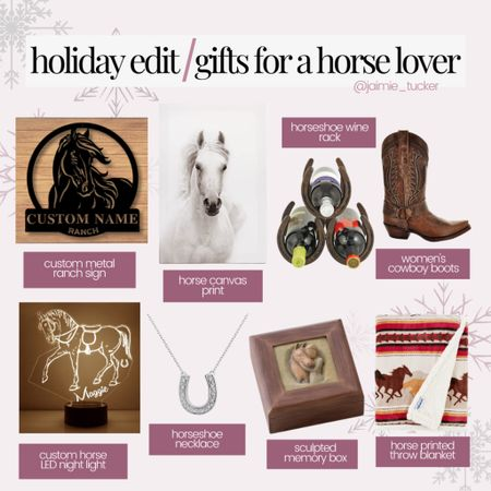 A holiday gift guide for horse lovers! | #giftguide #holidaygifts #horselover #cowboyboots #womensboots #horseshoenecklace #wallart #homedecor #throwblanket #customizedgifts #personalizedgifts #personalizedgiftideas #memorybox #JaimieTucker  #LTKhome #LTKGiftGuide