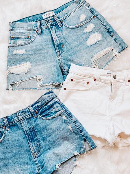 Denim shorts   white shorts   mom shorts   boyfriend shorts   Abercrombie   #LTKunder50 #LTKunder100 #LTKSeasonal