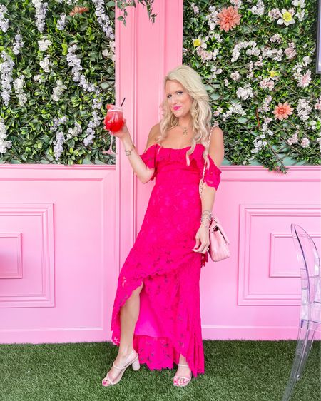 Pink lace dress size M. Similar ones linked  Pink quilted purse - pink sold out but other color options available.  Gold initial necklace  Nude heels   http://liketk.it/3jcLg #LTKwedding #LTKbeauty #LTKshoecrush #liketkit @liketoknow.it  Wedding guest dress, formal dress, vacation dress