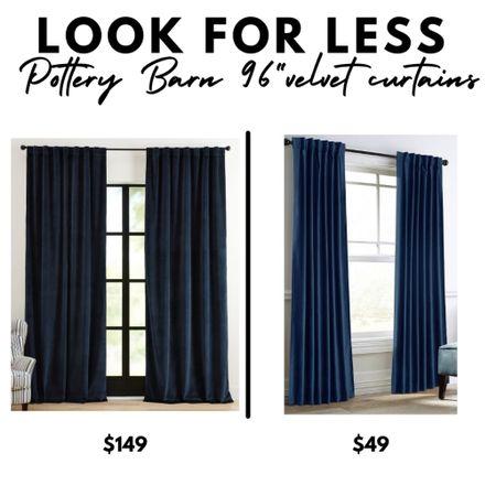 Velvet curtains, navy blue drapes, window treatments, blackout, room darkening, Pottery Barn, Amazon Home   #LTKunder50 #LTKhome