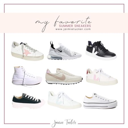 Check out some of my current sneaker favorites. All are perfect to wear during the summer! | #sneakers #summersneakers #VejaSneakers #GoldenGooseSneakers #GoldenGoose #Veja #Nike #Converse #summeroutfits #airportoutfit #JaimieTucker  #LTKstyletip #LTKshoecrush