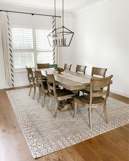 Loving my new dining room rug ! It is a tribal mosaic design and it is so pretty in person! It goes perfectly with our grey dining room table and new dining room chandelier! Add in some table decor and we are ready for guests! .  Shop your screenshot of this pic with the LIKEtoKNOW.it shopping app  or hwad to my stories! .  http://liketk.it/2Wy2Z #liketkit @liketoknow.it #StayHomeWithLTK #LTKhome #LTKfamily @liketoknow.it.home dining room decor dining set light fixture oil rubbed bronze modern farmhouse modern rustic decor