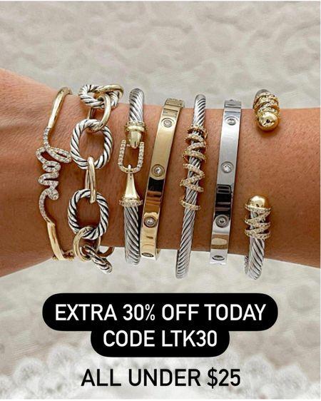 Bracelets on sale plus extra 30% off today   http://liketk.it/3hyH6 #liketkit @liketoknow.it #LTKunder50 #LTKsalealert #LTKunder100 #laurabeverlin