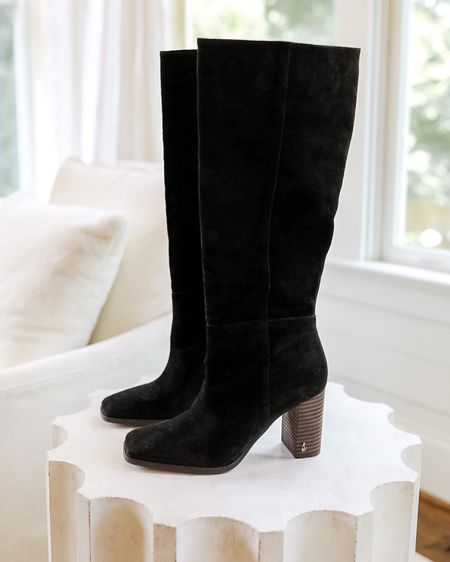 These are the Olly knee high boots from Nordstrom, and there's been a lot of back and forth about whether these are worthwhile, so here's my 2 cents!  The color and suede are lovely, the block heel makes them easy to walk in, and the square toe is a nice updated touch without being too modern.  They have no zipper and I didn't find them difficult to get on, but I did have some trouble getting them off.  I linked a few other black knee high boot options that I recommend, in case you're not 100% sure on this pair.  Knee high boots, black knee high boots, knee high boots black, womens knee high boots, Nordstrom Sale boots, Nordstrom Anniversary Sale boots, nsale boots, black boots, fall boots, suede knee high boots, black suede knee high boots, Olly knee high boot #nsale #boots #kneehighboots