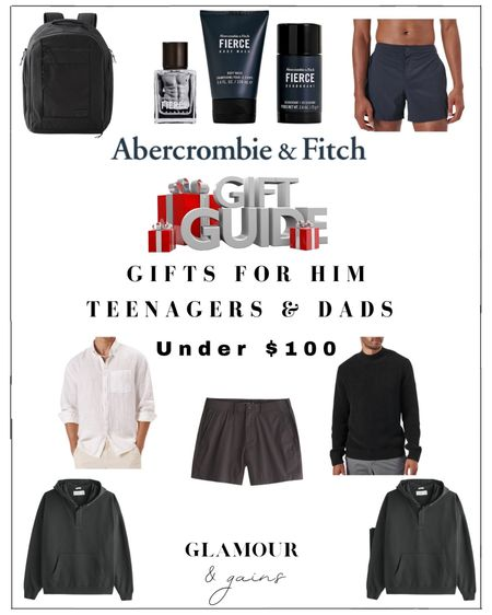 Men's holiday gift guide under $100. The best Abercrombie & Fitch gifts for him in men's fashion, accessories & fragrance from A & F. Perfect stocking stuffers & gifts for teenagers, sons, husbands, boyfriends & Dads. Men's shorts, shirts, sweaters, fragrance gift dyes & backpacks under $100 🎁   #LTKunder100 #LTKGiftGuide #LTKHoliday