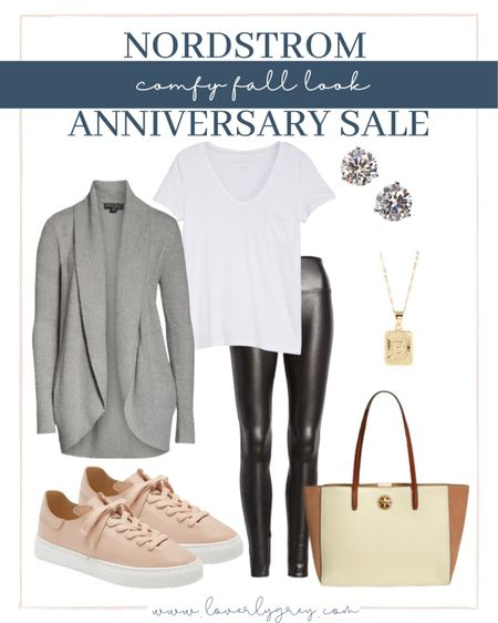 Nordstrom anniversary sale comfy fall loverly Grey look! Pair faux leather leggings with a cozy cardigan.   #LTKsalealert #LTKunder100 #LTKstyletip